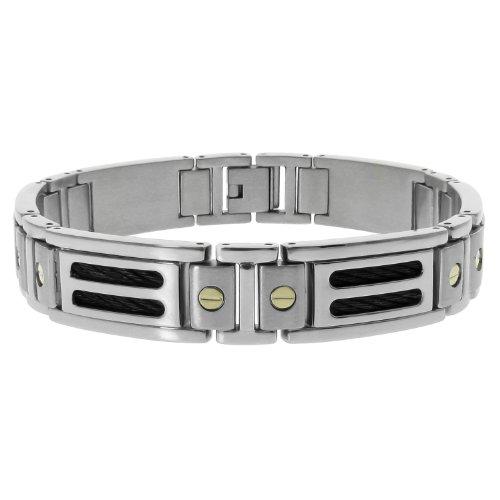 Men's Stainless Steel Black Cable Bracelet  10k
