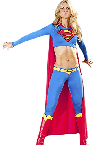 [Adult Women's Halloween Deluxe 1:1 Superman Costume Outfit Full Set (M)] (Plus Size Deluxe Superman Costumes)