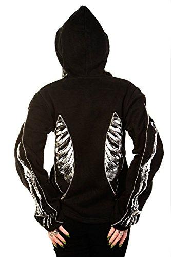 Banned Apparel scheletro, ossa-Felpa con cappuccio nero Large
