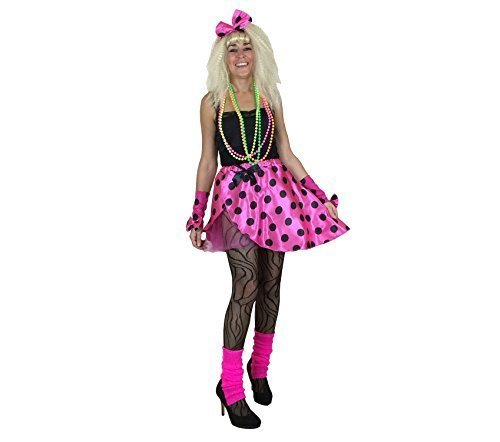 Ladies Tutu Kit Pink 80's Fancy Dress Costume 1980s Neon Womens Outfit Size 12-14