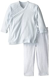 Burt\'s Bees Baby Boys Organic Solid Kimono Top and Striped Footless Pant, Sky, 3-6 Months
