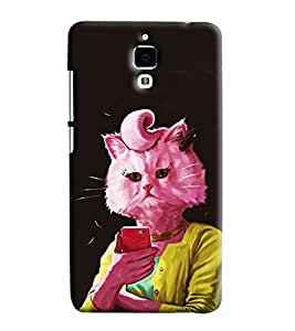 Blue Throat Cat In Pink Hard Plastic Printed Back Cover/Case For Xiaomi Mi4
