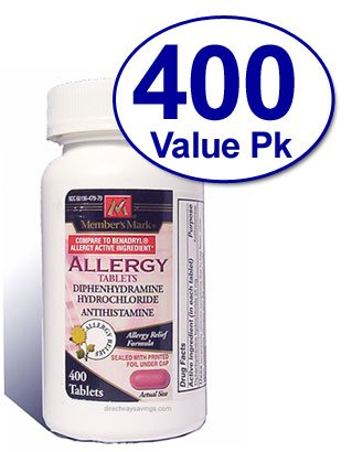 Diphenhydramine HCl 25 Mg Allergy Medicine and Antihistamine Compare to Active Ingredient of Benadryl Allergy Generic - 400 Tablets