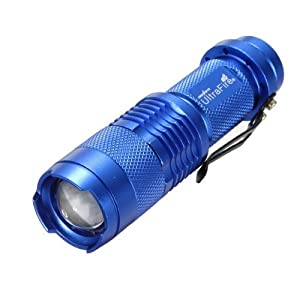 7W 300LM Mini CREE LED Flashlight Torch Adjustable Focus Zoom Light Lamp-Blue(1 mode) from UltraFire