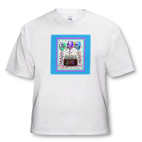 Happy Birthday Chocolate Cake 2nd - Adult T-Shirt Medium
