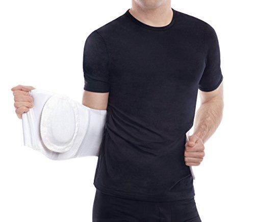 Ergonomic Umbilical Navel Hernia Belt / Abdomonal Support Brace - White, Small, Waist/Belly 35½