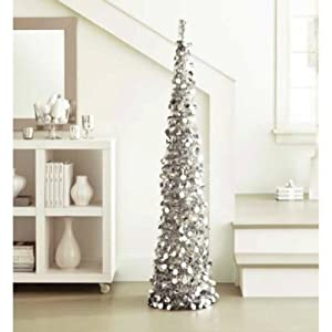 Amazon.com - Silver Tinsel Tree: 5 ft Collapsible Pop-Up ...