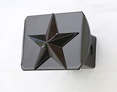 """Texas Lone Star 3d Black Emblem on Black Trailer Metal Hitch Cover Fits 2"""" Receivers"""