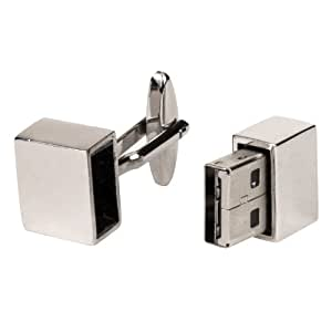 Mens Polished Silver Tone 4GB USB Memory Stick Flash Drive Cufflinks