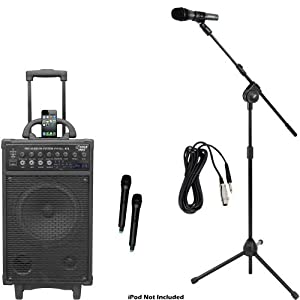 Pyle Mic and Speaker Package - PWMA970 300 Watt Dual Channel Wireless Rechargeable Portable PA System With iPod/iPhone Dock, FM Radio Channels / USB Flash Drive Stick / SD, SDHC Memory Card and 2 Handheld Microphones - PMKSM20 Microphone and Tripod Stand With Extending Boom & Mic Cable Package for Performances, Performers, Singers, dancers, Tours, Classrooms, Meetings, on Stage, in the Studio and Travel