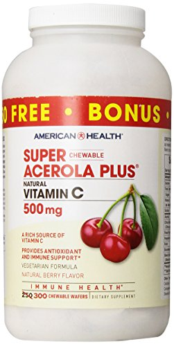 American Health Super Acerola Plus Chewable Wafers, 500 mg, Berry, 250 Count