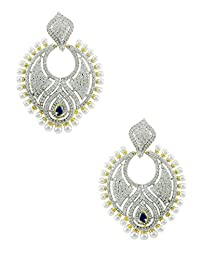 Chand CZ Stones Earrings With Navy Blue Color & Fixed Pearls