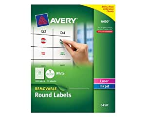 Amazoncom avery removable round labels 1 inch diameter for Avery 3 inch round labels template