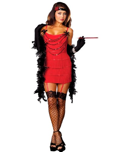 Flapper 1920s Sexy Red Dress with Fringe Hot Womens Theatrical Costume