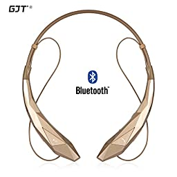 GJT®Wireless Stereo Bluetooth 4.0 Headsets Headphones Flex Neck Strap EarBuds Lightweight Noise Cancelling Earphones for iPhone,Samsung,Android Cellphones Enabled Bluetooth Device(GOLD)