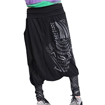 Aubig Fashion Patchwork Haremshose Pumphose Pluderhose Aladinhose Baggyhose Hippie Hip-Hop, cool Pattern