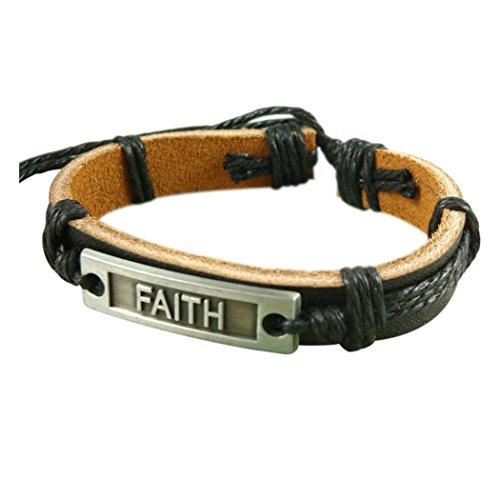 Wild Wind (TM) Christmas Faith Fashion Leather Adjustable Black Cord Identification Wrap Bracelet (Jelly Bracelts)