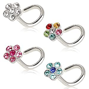 316L Surgical Steel Screw Nose Ring with Pink Gem Flower Top - 18g (1mm) - Sold as a Pair