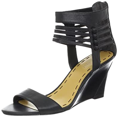 Nine West Women's Fleance Wedge Sandal,Black Leather,5 M US