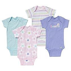Gerber Baby Girls' 4 Pack Onesie set - Sweetie (9 Months)