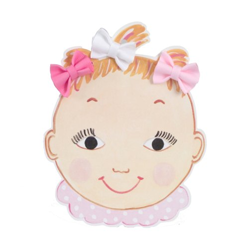 Dolly And Dimples Baby-Girls Newborn Little Miss Hollywood Hair Bow, Hot Pink/Light Pink/White, 0-12 Months