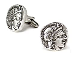 Antique Pewter Tone Classic Athena Greek Coin Mens Cufflinks, Museum Style Jewelry With History Card