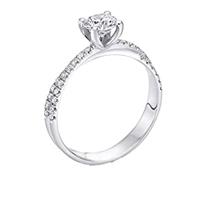 GIA Certified 14k white-gold Round Cut Diamond Engagement Ring (0.57 cttw, H Color, SI2 Clarity)