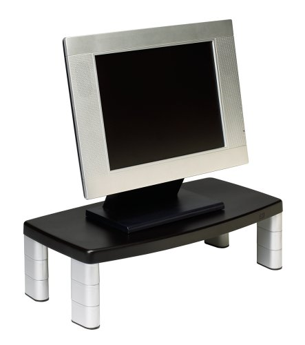 3M Extra Wide Adjustable Monitor Stand, Height 1 In To 5 7/8 In, Holds 40 Lbs, 16 In Space Between Columns, Silver/Blk back-1035946