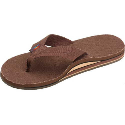 Rainbow Sandals Men's Hemp Double Stack, Color: Brown, Size: XX-Large (12-13.5)