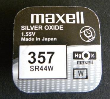 Maxell Pile SB B9 SR44W/357 Pile alcaline à l'oxyde d'argent pour montres 1,55 V