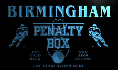 Qt2147-B Birmingham Ice Hockey Penalty Box Puck Bar Beer Neon Light Sign