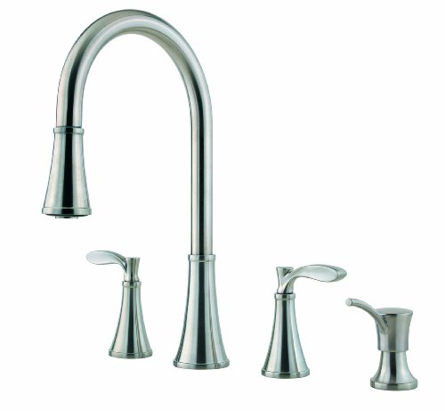 Pfister F5314PAS Petaluma Double Handle Pull-Down Kitchen Faucet, Stainless Steel