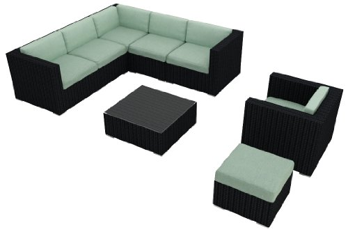 Harmonia Living Luxe Urbana 8 Piece Wicker Patio Sofa Sectional Set with Turquoise Sunbrella Cushions (SKU HL-URBN-8SECT-SP) photo