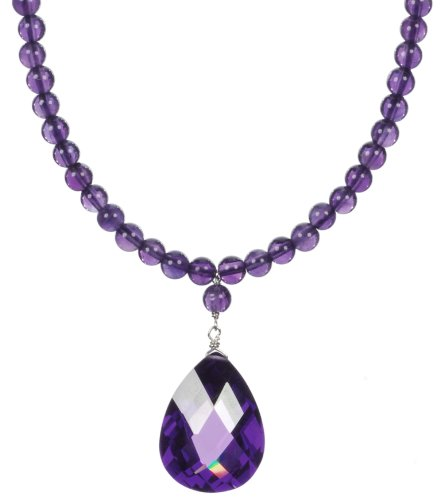 Sterling Silver Amethyst Bead with Pear-Shaped Amethyst Colored Cubic Zirconia Drop Necklace, 18