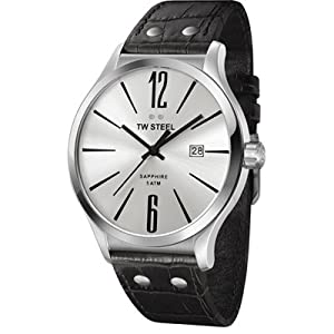 TW Steel Slim Line Silver Dial Black Leather Mens Watch TW1301