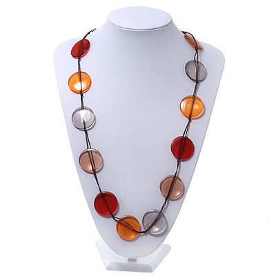 Long Brown/Orange/Beige Resin Button Cord Necklace - 96cm Length
