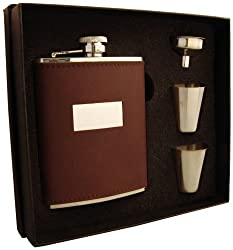 Visol Alcide Leather Flask Gift Set, 6-Ounce, Brown
