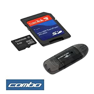 Sandisk 4GB Microsd Card with Adapter + Black USB Memory Card Reader for Cell Phone Smartphone