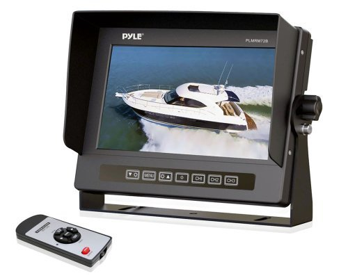 Pyle Plmrm72B Hydra Series Marine Grade Water Resistant 7-Inch Lcd Wide-Screen Monitor With Anti-Glare Shield And Universal Stand (Black) Color: Black