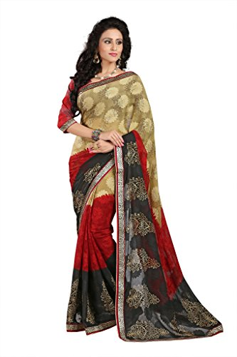 GL Sarees Casual Printed Beige Brasso Saree For Women