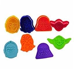 FOUR-C Cookie Plunger Cutters Mask Model Cookie Molds Cutter Set for Cookie Decorating Color Colorful