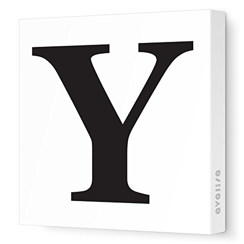 "Avalisa Stretched Canvas Upper Letter Y Nursery Wall Art, Black, 18"" x 18"""