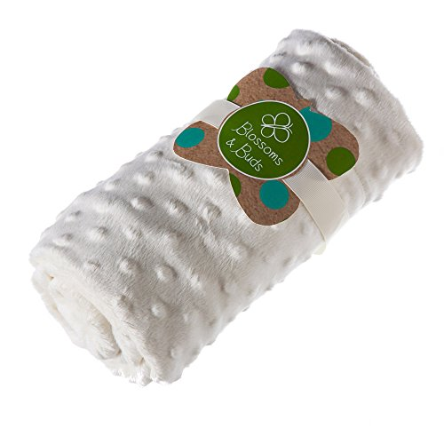 White Everyday Minky Dot Baby Blanket