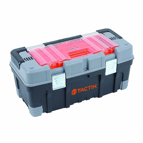 Tactix 320304 Plastic Box With Organizer 22 Inch Black