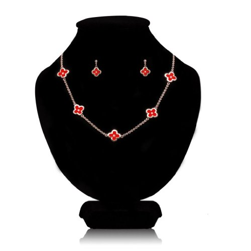 FASHION PLAZA Rose Gold Finish Red/Black Simulated Pearl Shell Flower with Cubic Zirconia Stud Earrings and Pendant Necklace Set
