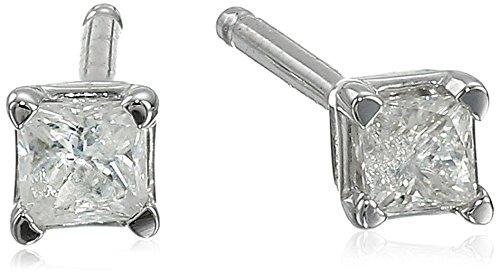 10K White Gold Princess-Cut Diamond Studs (1/10 Cttw, J-K Color, I2-I3 Clarity)