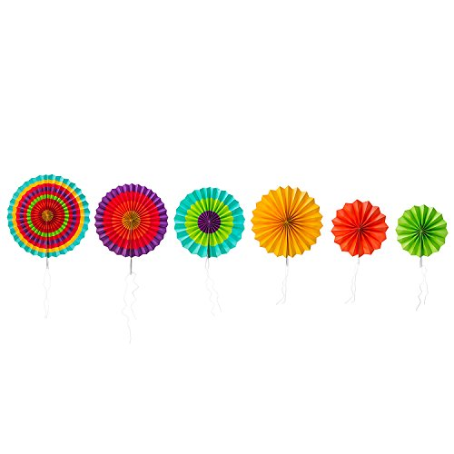 Fiesta Colorful Paper Fans Round Wheel Disc Southwestern Pattern Design for Party, Event, Home Decoration (Set of 6) by Super Z Outlet (Orange Fan Decorations compare prices)