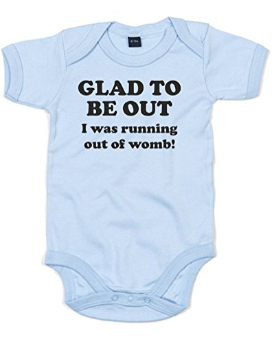 Glad to be out! I was running out of womb!, Printed Baby Grow - Dusty Blue/Black 0-3 Months