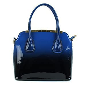 Scarleton Two Tone Patent Satchel Bag H118807 - Blue