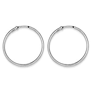 .925 Sterling Silver 34 MM Polished Endless Hoop Earrings